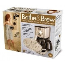 A multi-tasker's dream, the Obe'ir Bathe & Brew shower coffee maker brews up to 12 cups of great tasting coffee, while you shower - in the shower! The Bathe & Brew features a removable filter basket,
