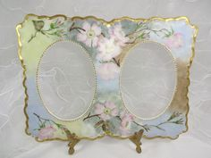 French Limoges Double Picture Frame Hand Painted Pink Roses