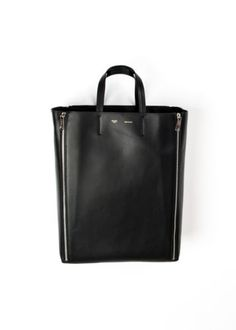 100-authentic-BNWT-CELINE-leather-vertical-gusset-cabas-silver-black-tote-bag