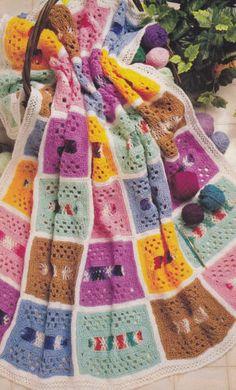 Crochet-Pattern-MULTI-COLOR-SCRAP-AFGHAN-Instructions.  Love the colors.