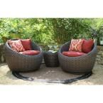 AE Outdoor Corona 3-Piece All-Weather Wicker Patio Deep Seating Set with Sunbrella Red Cushions