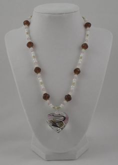 Light Purple Brown and White Glass Blown Pendant by SummerCAmber, $12.00