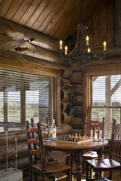 Montana mix - traditional - dining room - other metro - Design Associates - Lynette Zambon, Carol Merica Log Cabin Kitchens, Log Cabin Homes, Log Cabins, Barn Homes, Log Cabin Designs, Rustic Home Interiors, Cozy Cabin, Guest Cabin, Lodge Style