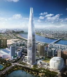 Lotte World Tower is a supertall skyscraper currently being erected in Seoul, South Korea. Ground was broken in upon completion in it is expected to become the tallest skyscraper in the developed world. Modern Skyscrapers, Modern Buildings, Unique Architecture, Futuristic Architecture, Lotte World, Futuristic City, High Rise Building, Famous Architects, Amazing Buildings