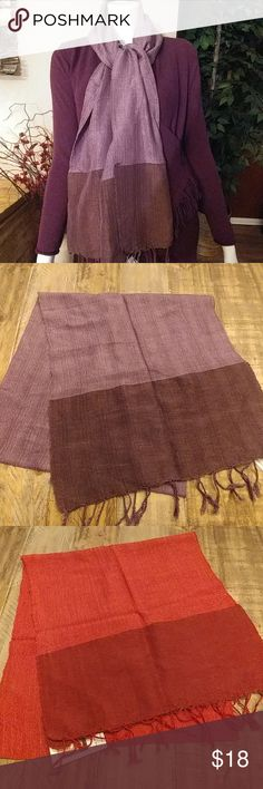 """Beautiful Global Girlfriends Silk Blend Scarves These color block silk blend scarves are women-made, fair trade products from Vietnam which support the artisans that make them. 30% silk 70% cotton. Measures 70"""" L × 16"""" W with a 2 1/2"""" fringe on each end. 1each available in Dusty Purple and Pumpkin. 2 available in Rose Global Girlfriend Accessories Scarves & Wraps"""