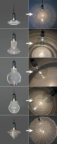 Hanging light bulbs of different shapes, these are great because of the patterns they create on the surfaces below them. Some of the have far better ascetic looks to the others and could be interesting to experiment with.