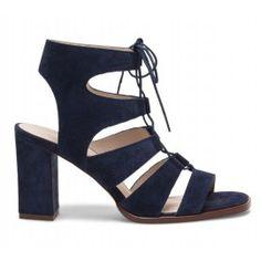 best cheap bc4e4 1c9a4 Sandale bleue à brides en cuir velours