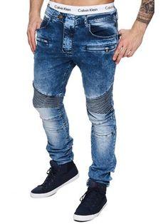 F&S Men Slim Fit Denim Free Biker Distressed Jeans - Blue