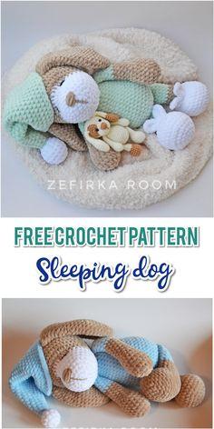 amigurumi chien endormi au crochet Sweet sleeping dog Sonia is plush toy by Olga Philippova. Crochet Teddy, Crochet Bunny, Cute Crochet, Crochet Animals, Crochet Crafts, Crochet Dolls, Crochet Animal Amigurumi, Simple Crochet, Crochet Rope