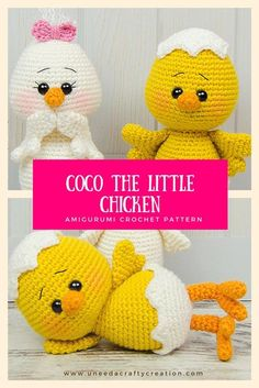 Coco the Little Chicken Amigurumi Crochet Pattern - Coco the Little Chicken is a pattern created by Carolina from the One and Two Company! It's the perfect Easter crochet pattern! Join her group for a free bunny pattern to match! Get the pattern on Ravelry at:https://www.ravelry.com/patterns/library/coco-the-little-chicken #crochet #crocheting #crochetpattern #freecrochetpatterns #chicken #amigurumi #amigurumipatterns #amigurumiaddict #uneedacraftycreation