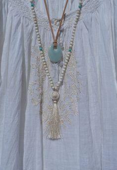 lange Perlen Quaste Halskette Yoga am Meer von beachcombershop