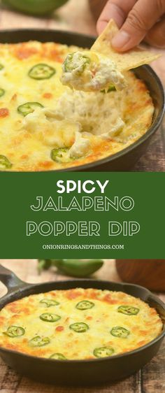 Cheesy Jalapeno Popper Dip made of cream cheese diced green chilies shredded cheese and fresh jalapenos is the ultimate party appetizer! Cheesy creamy and with just the right amount of kick this cream cheese dip is absolutely addicting! Jalapeno Popper Dip, Creamy Jalapeno Dip, Bacon Jalapeno Poppers, Chili Cheese Dips, Jalapeno Sauce, Cheese Food, Sauces, Salads, Snacks