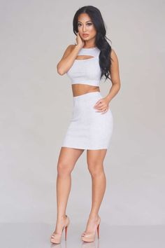Forever Now Ribbed Two Piece – Heather Grey