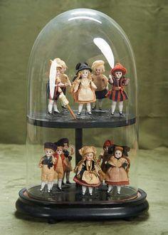 Pristine German dollhouse dolls