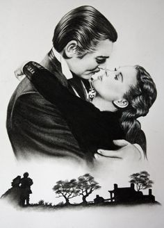 """Vivien Leigh and Clark Gable. I have loved """"Gone with the Wind"""" ever since I was a child) It may be the greatest film of all time. Gone with the Wind Old Movies, Great Movies, Classic Hollywood, Old Hollywood, Wind Tattoo, Tomorrow Is Another Day, Scarlett O'hara, Vivien Leigh, Clark Gable"""
