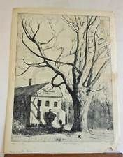 Marco ZIM Russia Artist 1930s WPA Era Etching Boston New England House Old Maple