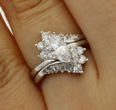 2.00 Ct 14K White Gold Marquise Engagement Promise Ring Matching Band Duo Set