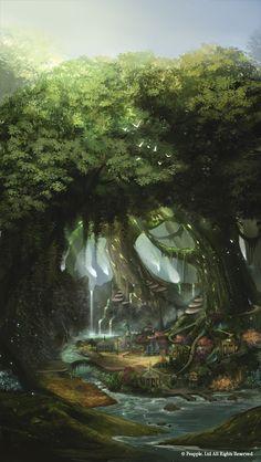 Lunar Leap: by Ninjatic Fantasy Art Landscapes, Fantasy Landscape, Landscape Art, Fantasy Forest, Fantasy Rpg, Fantasy World, Fantasy Background, Art Background, Cities