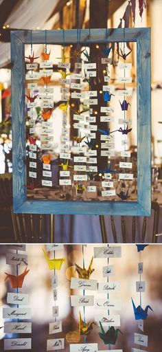 A Rainbow Of Cranes seating plan / http://www.himisspuff.com/origami-wedding-ideas/2/