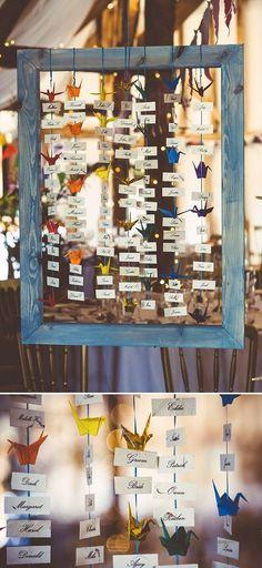 A Rainbow Of Cranes seating plan / http://www.himisspuff.com/origami-wedding-ideas/2/