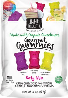 Project 7 gourment Gummies Candy with organic sweeteners 2 oz: Project 7 Gourmet Gummies treats are made with natural ingredients, no artificial colors or artificial dyes, no gluten, just award winning taste! Organic Non GMO Donut Ice Cream, Gum Flavors, Fruits For Kids, Kids Fruit, Ice Cake, Party Mix, Vintage Candy, Fruit Snacks, Chewing Gum