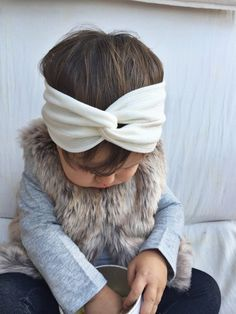 Cream knit turban headband by turbansfortots on Etsy
