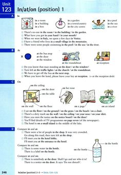 In / At / On (position) 1 Teaching English Grammar, Spelling And Grammar, Spanish Language Learning, Grammar Lessons, English Vocabulary, Teaching Spanish, English Class, English Lessons, French Lessons