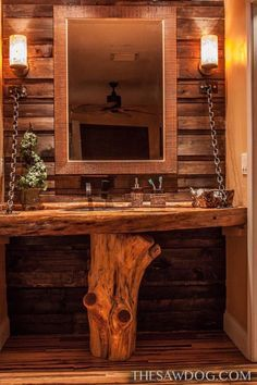 Pallet Furniture Here is a custom bathroom vanity I built with a cedar base holding up cypress live edge counter top with hammered copper sink and pallet wood wall and onyx light fixtures Rustic Bathroom Designs, Rustic Bathroom Vanities, Rustic Vanity, Wood Vanity, Bathroom Mirrors, Cabin Bathrooms, Rustic Bathrooms, Pallet Furniture, Rustic Furniture
