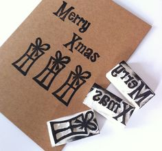 Tutorial - DIY Christmas Stamps at Claireabelle Makes Crafts Christmas card DIY Make your own handmade stamped Easy Christmas Crafts, Noel Christmas, Christmas Projects, Simple Christmas, Handmade Christmas, Christmas Cards, Christmas Ideas, Homemade Stamps, Homemade Gifts