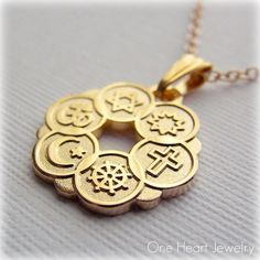 Interfaith Pendant  Religious Symbols  Gold by OneHeartJewelry
