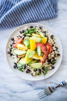 Heirloom Tomato and Avocado, Rice and Black Bean Bowl with Garlic Chive Créme Fraîche