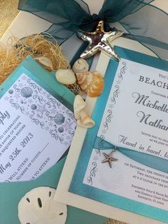 Beach themed wedding invitation suite by http://musicboxinvites.com