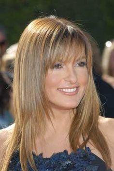 Mariska Hargitay long layers hairstyle with bangs