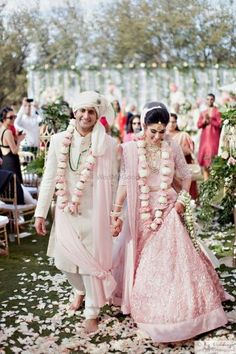 Do you think Only Red Lehenga is for Brides ? Gorgeous brides show how to rock your wedding in a Pink Bridal Lehenga. Indian Bridal Outfits, Indian Bridal Lehenga, Indian Bridal Wear, Bridal Dresses, Long Wedding Dresses, Groom Outfit, Groom Dress, Anarkali, Lehenga Choli