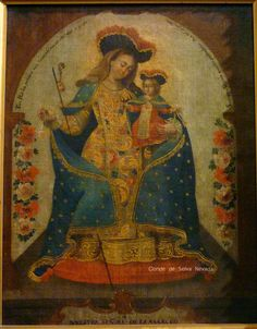 Virgen de la Merced de Guatemala, óleo sobre tela, autor desconocido, siglo XVIII. Pinacoteca de La Profesa, Ciudad de México. Es notable el esmero del pintor en el detalle del brocado en que remata el manto de la virgen, recuerda mucho al fino trabajo de brocateado que caracterizó a la escuela de pintura cuzqueña.