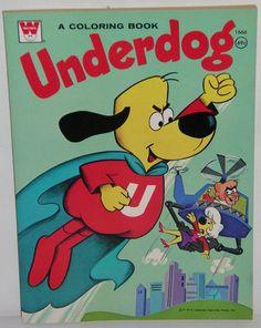 Scarce UNUSED 1974 UNDERDOG Cartoon 128 pg COLORING BOOK Mint Vintage