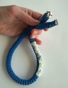 Crocheted necklace  crochet jewelry in navy blue by Loulalalou, $20.00