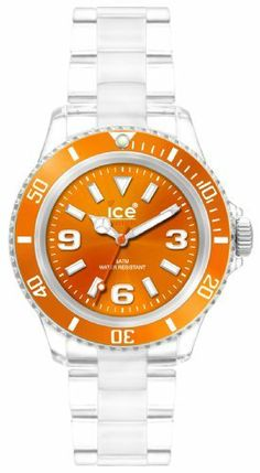 Ice-Watch Unisex CL.OE.U.P.09 Classic Collection Orange Dial Clear Plastic Watch Ice-Watch. $60.00. Precise, high-quality Miyota 2035 Japanese quartz movement. Logo on crown, case-back and dial. Water-resistant 165 feet (50 M). Transparent Plastic case surrounds a durable mineral glass crystal, covering the Orange Dial. Comfortable Transparent plastic water-resistant strap with buckle