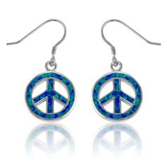 Blue Inlay Opal Open Peace Sign Earrings in 925 Sterling Silver by…