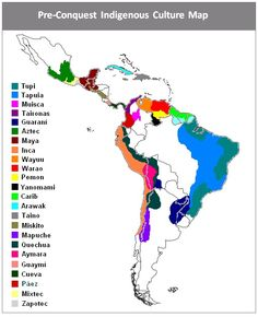 Map of Latin America displaying the regional footprint of indigenous culture populations prior to the start of the Spanish conquests in 1492. [avenidaazul-a3xa]