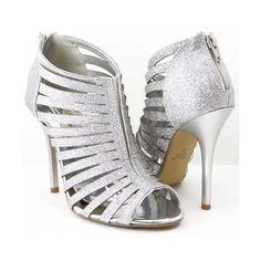 Amazon.com: Silver Glitter Open Toe Strappy Sandals Heels: Shoes via Polyvore