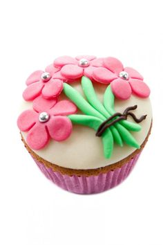 Recept voor cupcake met een bosje bloemen