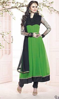 Attractive Green Color Georgette Designer Churidar Kameez. Sale : $94.00