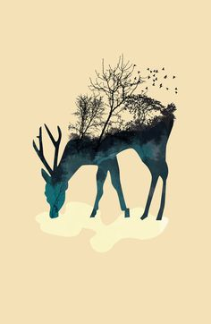 I love tattoo's like this, but I'm not really sure I could pull of a deer tattoo Nature Tattoos, Body Art Tattoos, Tatoos, Tatouage Delta, Hirsch Tattoo, Illustrations, Illustration Art, Deer Tattoo, Deer Print