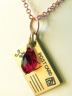I love you pendant Ruby red Swarovski crystal, necklace Jewelry $19.50
