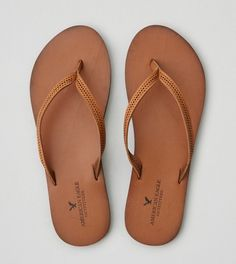 Cognac AEO Perforated Leather Flip Flop