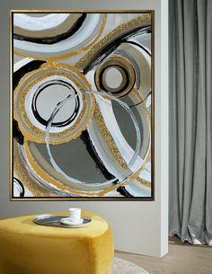 Contemporary Abstract Art, Abstract Wall Art, Canvas Wall Art, Modern Art, Glitter Paint, Gold Paint, Oversized Canvas Art, Leaf Texture, Extra Large Wall Art