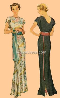 1930s  Dresses that will never look good on me, but I love the styling anyway.
