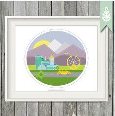Printable City Art - 8x10 Art Print - INSTANT DOWNLOAD - Happy Mountain City Print by greenoriginals on Etsy