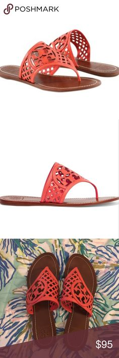 Tory Burch Thatch Coral sandal 🐠 Tory Burch Thatch Coral sandal 🐠 pretty color and flattering style. Makes your foot look super skinny. Love these sandals but don't get around to wearing them enough. Worn a handful of times - great condition. Tory Burch Shoes Sandals